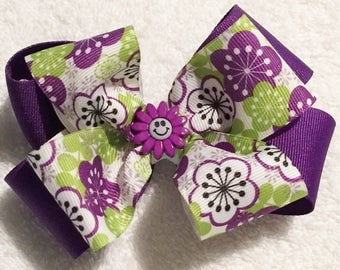 Purple Hair Bow|Green And Purple Bow|Purple Stacked Bow|Girls Purple Bow|Toddler Purple Bow|Purple Flower Bow|Girls Hair Bows