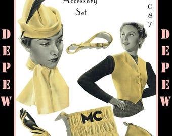 Vintage Sewing Pattern 1930s Ladies' Hat, Vest, Purse & Scarf #3087 - INSTANT DOWNLOAD
