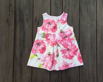 Floral- Pink on White Girls Dress, Sun Dress, Cotton, Pink, Flowers, Baby, Girl, Boutique, Floral, Fashion