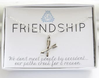 Best Friend Gift Crossed Arrow Necklace BFF Gift