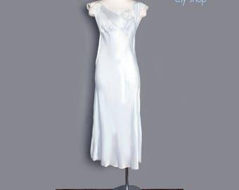 1930's Baby Sky Blue Butterflies Silky Slip Dress - MEDIUM