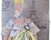 Tilda French-Style Doll - Cloth Doll with Lacy Butterfly and Roses Dress