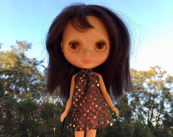 Groovy Holographic Mod Blythe Doll Floaty Dress (Tent/Trapeze/GoGo/Groovy/1960s/Vintage Fabric)