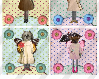 "Digital Collage Sheet, 4X4"", Dogs, Coasters with 1.5"" Charms, Square and Round, (Sheet no. FS299) Instant Download"
