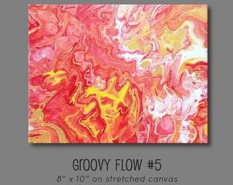 Groovy Abstract Acrylic Flow Painting #5 Ready to Hang 8x10