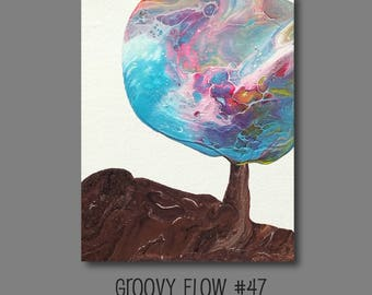Groovy Abstract Acrylic Flow Painting #47 Ready to Hang 8x10