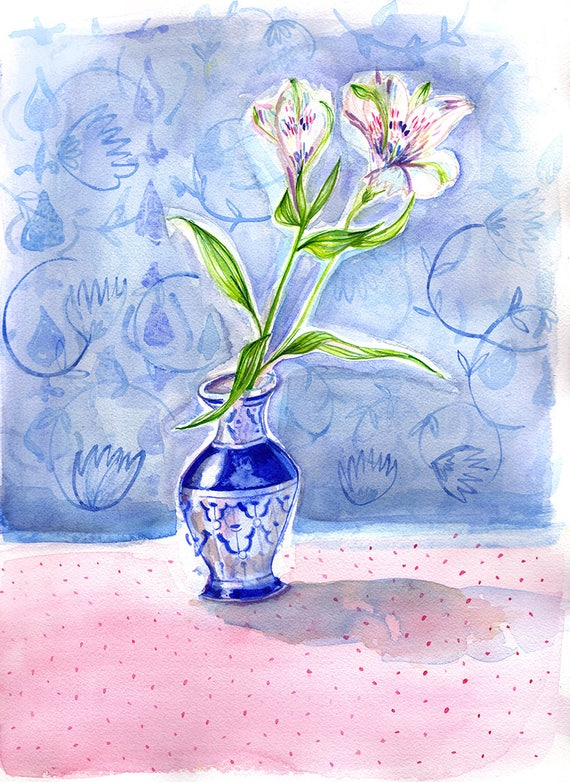 Dotty Vase Blue Wall Art Print botanical illustration
