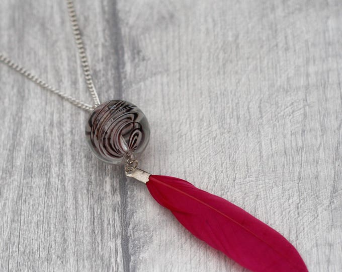 Pink Feather Necklace, Nature Jewelry, Feather Pendant