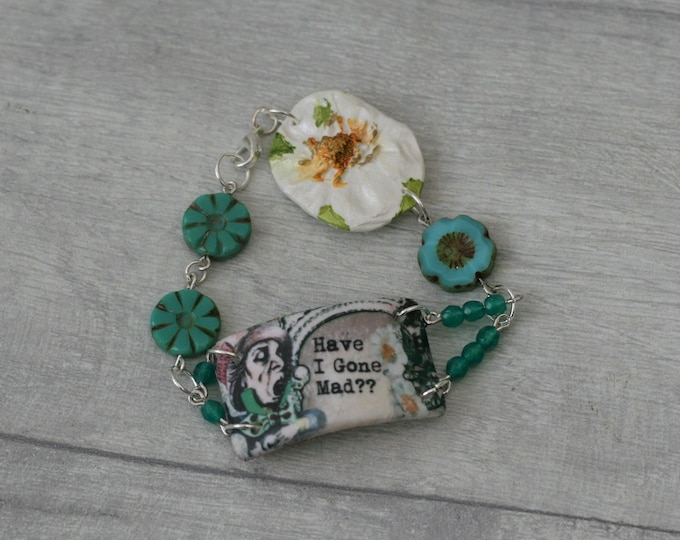 Mad Hatter Bracelet, Alice in Wonderland Jewelry, Flower Accessory