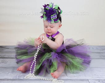 Purple Witch Costume Tutu Dress Set, Halloween Tutu Dress Purple Green Black,Cute Birthday Outfits,first birthday dress for girls