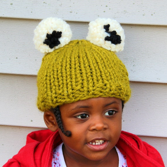 Knit Kid's Frog Hat