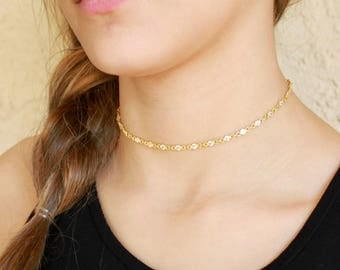 Choker, Crystal Choker, Gold Necklace, Crystal Necklace, Gold Choker Necklace, Bridesmaids Necklace, Crystal Jewelry, The Silver Wren