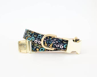 Rifle Paper Co Tapestry Dog Collar in Black Metallic - Metallic Gold Dog Collar - High End Dog Collar - Botanical Dog Collar
