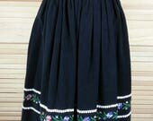 Vintage black corduroy dirndl skirt with embroidery Miss Trude Jr. of California size Small waist 26