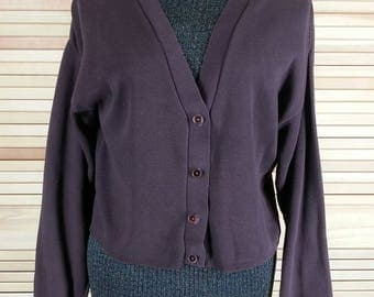 Vintage 90s brown cardigan sweater cotton size L large to M medium chest 42