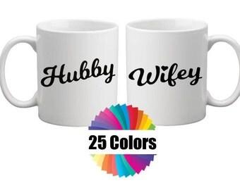 Coffee Mug Cup Decal Wifey Hubby DIY Gift Wedding or Couple Gift Yeti Tumbler Rambler RTIC Ozark Decals 25 Colors