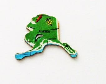 1961 Alaska Brooch - Pin / Unique Wearable History Gift Idea / Upcycled Vintage Wood Jewelry / Timeless Gift Under 25