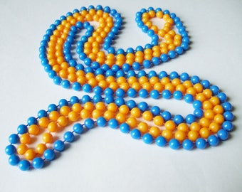 Two Long Bead Necklaces in Yellow and Blue - Cheap and Cheerful Cute Bright Jewellery