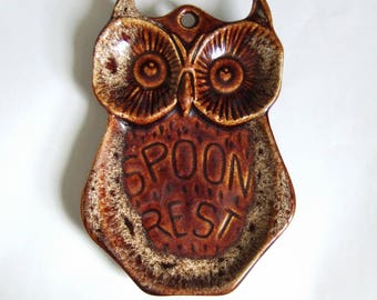 1970s Ceramic Owl - Vintage Spoon Rest in Brown Lava Glaze Pottery - Cute Kitchen Kitsch