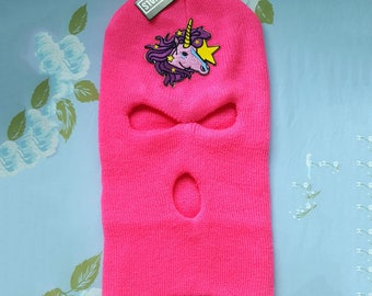 Spring Break Forever - Spring Breakers style Pink Ski Mask with Unicorn Patch