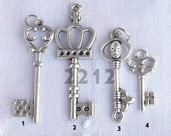 sterling silver key pendant, Bridal, love, lock, couple, engagement, wedding, marriage, groom, bride, woman, men