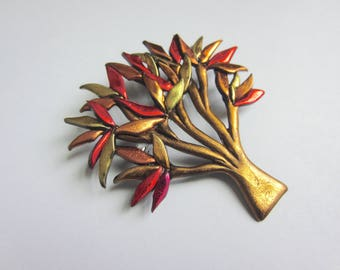 Tree pin with fall leaves brooch autumn pin