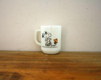 vintage 60s Fire King Peanuts Snoopy & Woodstock Life Is Pure Joy! Coffee Mug