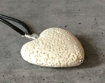 Diffuser Necklace * White Heart Lava Rock Pendant * Made for Essential Oils with a Clear Quartz Crystal and Argentium Sterling Silver Bail