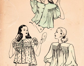 1940s Butterick 4177 Vintage Sewing Pattern Misses Bed Jacket Size Medium