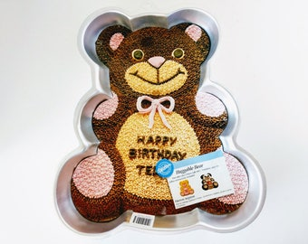 Wilton Teddy Bear Cake Pan Birthday Cake Decorating Bear Vintage Baking Aluminum, 1st Birthday Childrens Party Cake Icing Tips and Recipes