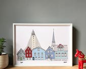 Reykjavik Print A3 - Scandinavian Wall Art - Reykjavik Cityscape - Icelandic Wedding Gift