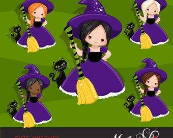 Halloween Clipart, cute witch, african american witch, black cat, Halloween broom, scrapbook, embroidery, party planner, characters, trick