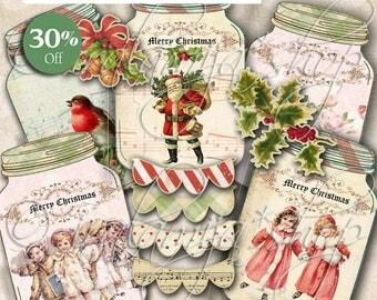 CHRISTMAS JARS Collage Digital Images -printable download file Scrapbook Printable Sheet
