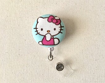 Hello Kitty Badge Reel, Fabric Button Badge Reel, Nurse Badge Reel, Hospital ID Badge Reel, RN, Office Accessory, Doctor