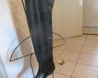 Black THIGH HI BOOTS, Genuine Leather Uppers