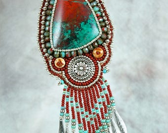 Necklace, Beaded, Bead embroidered, Sonora sunrise chrysocolla, silver, red,  turquoise,  Embroidered Necklace