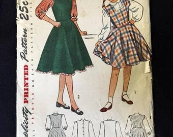 Vintage 1940s Girls Jumper and Blouse Pattern Simplicity Sewing Pattern No 2628 . 40s Printed Pattern Size 14 Bust 32 Waist 26 Hip 35