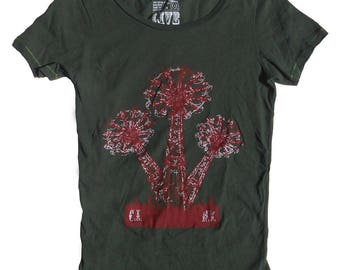 Womens Scoop Neck T Shirt - Coney Island's Parachute Jump in Hand-Dyed Olive Green