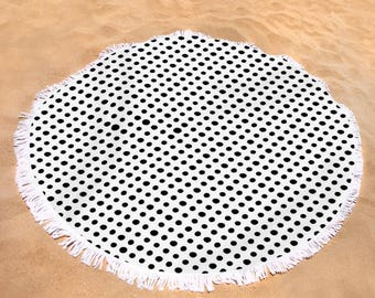 "Round Towel Birds -  60"" in diameter - Black and White - Curious made polka dots 2017"