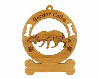 1831 Border Collie Crouching2 Personalized Ornament