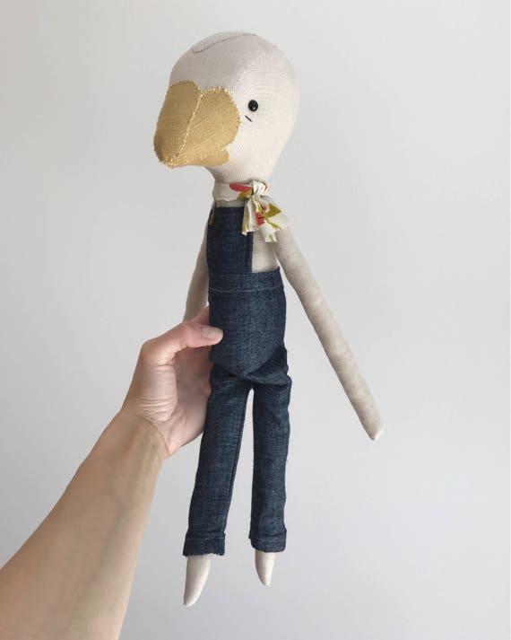 birdling bird doll | handmade cloth doll | overalls and neckerchief