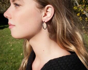 Sterling Silver Hoop Earrings, Narrow, Oxidized 25mm