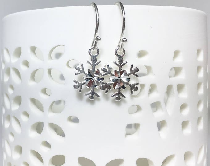 Featured listing image: Snowflake Earrings, Sterling Silver Petite Dangles, Snowflake Charms, Winter Accessory, Snowflakes and Icicles, Lightweight, Minimalist