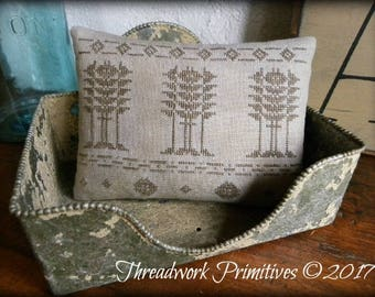 Primitive Cross Stitch Pattern - Tall Trees Coverlet