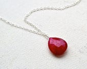 Sookie Necklace - ruby necklace, ruby gemstone necklace, scarlet ruby solitaire necklace, true blood, july birthstone