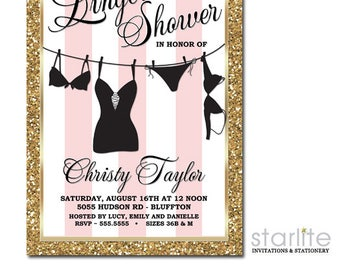 Lingerie Shower Invitation Pink White Stripes | Pink Gold Glitter Lingerie Shower Invitation Printable | Printed Lingerie Shower Invitations