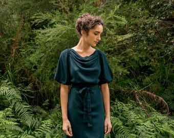 Three Ravens Puff Sleeve Dress in Nettle