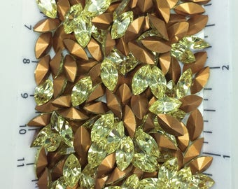 10x5 jonquil yellow Swarovski Navette 4200/2 marquis rhinestones - 1st Quality TTC - 12pc - perfect for crystal clay jewelry and repair