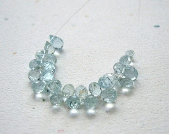 Tiny Aquamarine Faceted Briolettes 2x4mm to 3x5mm - 25 Beads