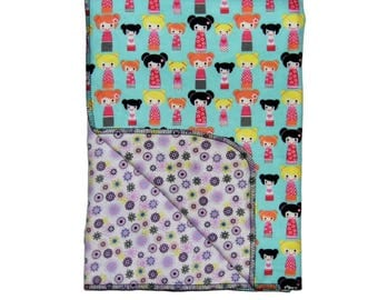 Pink Blanket - Baby Blanket - Kokeshi Doll -  Toddler Blanket - Cotton Blanket - Stroller Blanket - Nursery Bedding - Reversible - Girls
